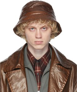Brown Quilted Bucket Hat