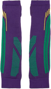 SSENSE Exclusive Purple and Green Knit Battle Gloves