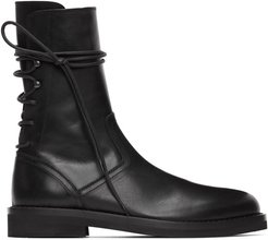 Black Leather Back Lace-Up Boots
