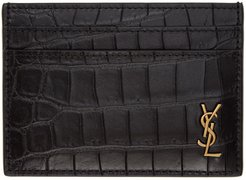 Black Croc King Palm Card Holder