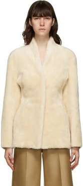 Beige Faux-Shearling Collarless Mustang Jacket