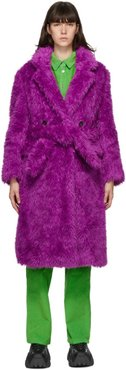Purple Double-Breasted Eco-Fur Coat