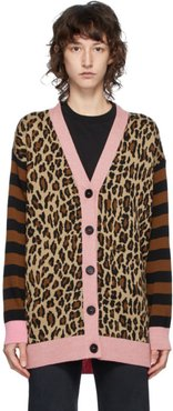 Brown and Pink Leopard Cardigan