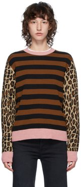 Brown and Pink Stripe Leopard Crewneck