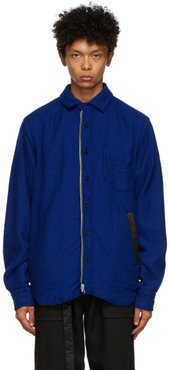 Reversible Blue and Green Solid Shrivel Jacket