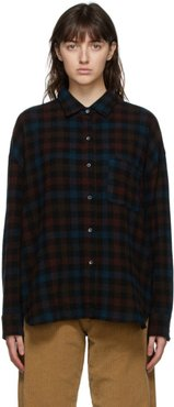 Brown Wool and Cashmere Check Lori Shirt