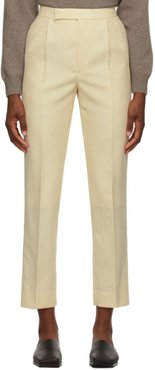 Beige Wool Bluefaced Cloth Trousers