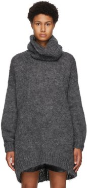 Grey Mohair and Wool Eva Turtleneck