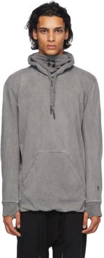 Grey Embroidered Logo Hoodie