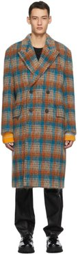 Orange and Blue Check Wool Double-Breasted Coat