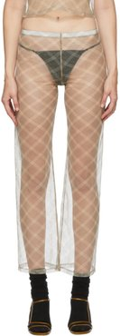 SSENSE Exclusive Beige and Grey Check Dance Pants