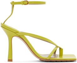 Green Strappy Stretch Heeled Sandals