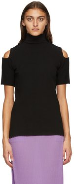Black Cutout Short Sleeve Turtleneck