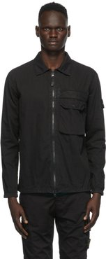 Black Brushed Canvas Zip-Up Overshirt
