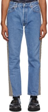 Blue and Beige Padded Jeans