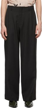 Black Wool Flared Trousers