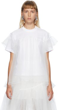 SSENSE Exclusive White Tulle Overlay T-Shirt