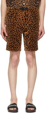Brown and Black Velour Leopard Shorts