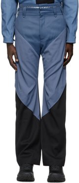 Blue and Black Triple Dart Trousers