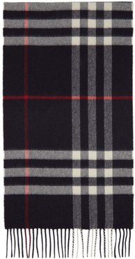 Navy Cashmere Classic Check Scarf