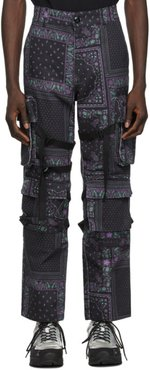 Black and Purple Paisley Cargo Pants