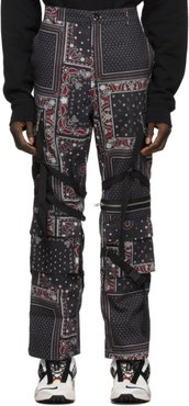 Black and Red Paisley Cargo Pants