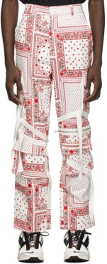 White and Red Paisley Cargo Pants