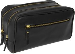 The Double-Up Black Leather Wash Bag 3 Zip