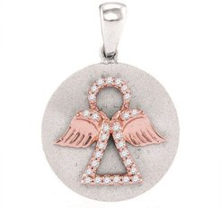 Diamond Angel Medallion Pendant in 10K White Gold