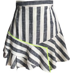 Flirty Striped Mini Ruffle Skirt