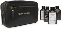 Dads Travel Kit Black Leather Wash Bag With Grooming Products