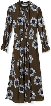 Felicity Midaxi Dress With Shirred High Neck Detail In Blue & Olive Poppy