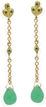 Luccichio Deco Gold-Plated Chrysoprase Earrings