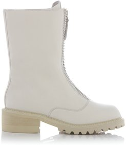 White Leather Ankle Boots With Track Sole