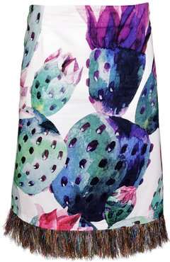Cactus Print Cotton Skirt With Sparkly Tassels