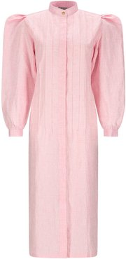 Pink Rose Linen Shirt Dress With Puff Sleeves