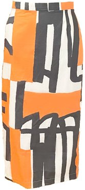 Abstract Graphic Printed Cotton Midi Pencil Skirt In Vintage Fabric & One Of A Kind