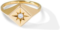 North Star Signet Ring With White Diamond 14k Yellow Gold
