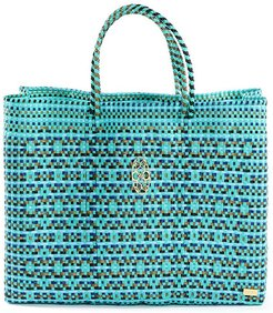 Turquoise Book Tote Bag With Clutch