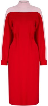 Two Colored Jersey Dress - Red
