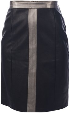 Two-Tone Faux Leather Skirt