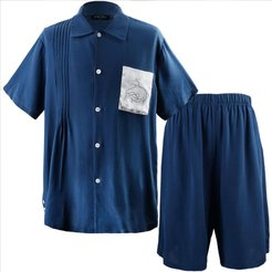 Pocket Embroidery short Pajama Set - Dark Blue