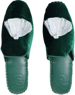 Handmade Velvet Slippers - Dark Green