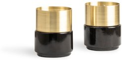 Brass Candle Holders Black Marble