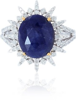 18Kt Solid White Gold Blue Sapphire Pave Diamond Silver Ring