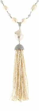 White Pearl & Pearl Tassel Necklace