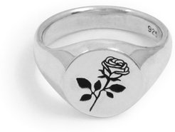 Rose Signet Ring In Sterling Silver