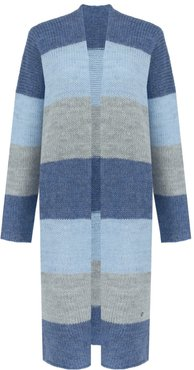 Long Striped Cardigan Blue