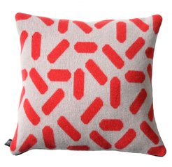 Tic-Tac Cushion Large in Grey & Red/Black Zip