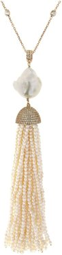 Sterling Silver Pearl Baroque Tassel Necklace in Yellow Gold
